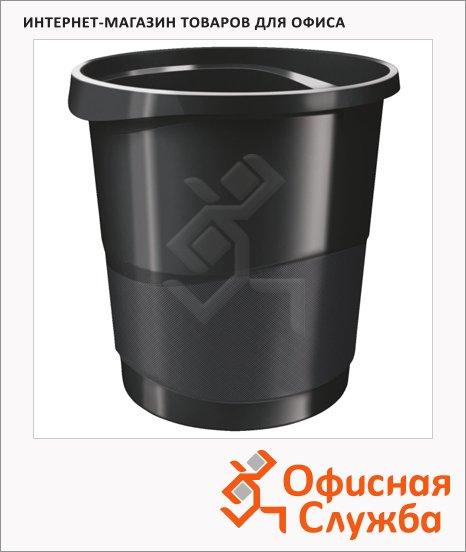 Корзина для бумаг Esselte Europost Vivida 14л, с держателем, черная, 623952
