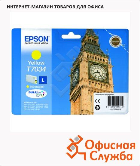 Картридж струйный Epson T70344, желтый