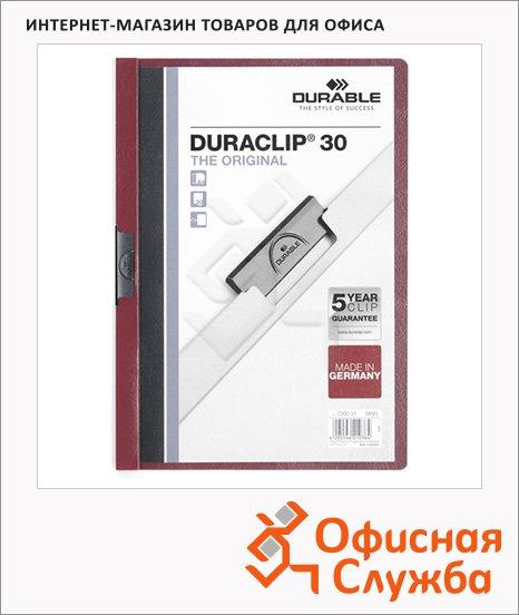 Пластиковая папка с клипом Durable Duraclip темно-красная, А4, до 60 листов, 2209-31