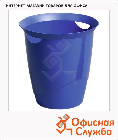 Корзина для бумаг Durable Trend 16л, с прорезными ручками, голубая, 1701710540