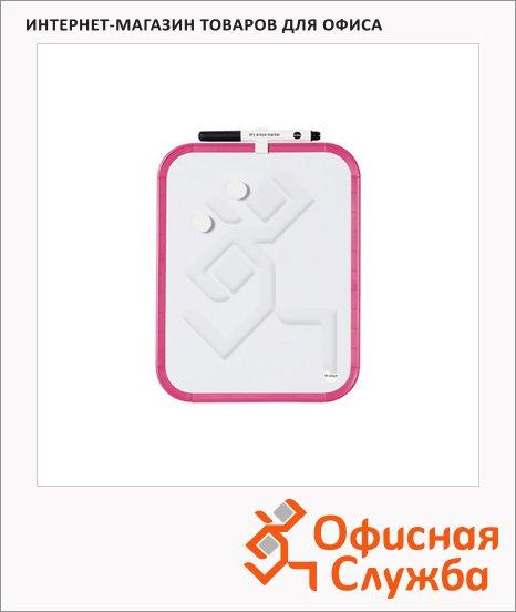 фото: Доска магнитная маркерная Bi-Office СLK010314 28х35.5см белая, лаковая, розовая рама