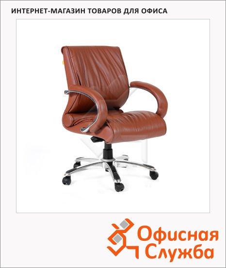 Кресло руководителя Chairman 444 нат. кожа, крестовина хром, коричневая