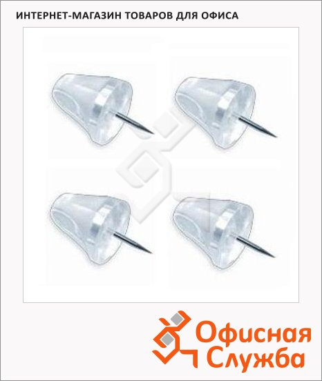 Кнопки силовые Bi-Office Mini Pushpins прозрачные, 50 шт/уп, PI2119