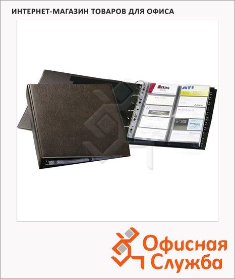 Визитница Durable Visifix на 400 визиток, коричневая, 57х90мм, ПВХ, разделитель A-Z, 2384-11