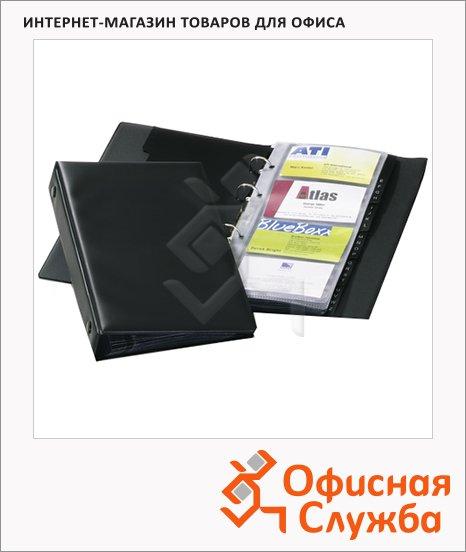 Визитница Durable на 96 визиток, черная, 225х145мм, ПВХ, разделитель A-Z, 2441-01