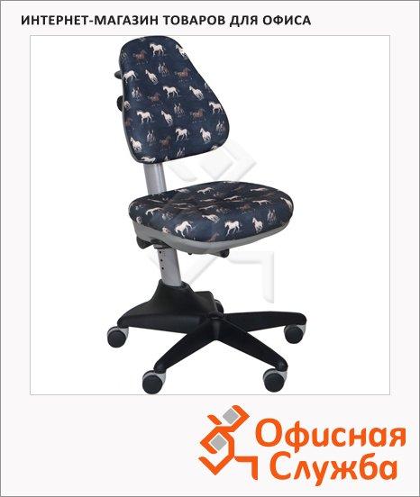 Кресло детское Бюрократ KD-2 ткань, крестовина пластик, серая, лошади, серая