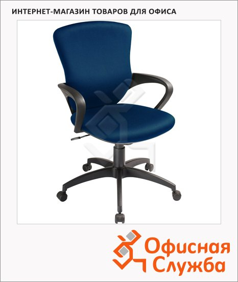 Кресло руководителя Бюрократ CH-818AXSN ткань, темно-синяя, крестовина пластик, низкая спинка