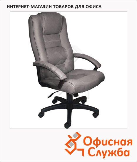 Кресло руководителя Бюрократ T-9906AXSN иск. нубук, серый, крестовина пластик