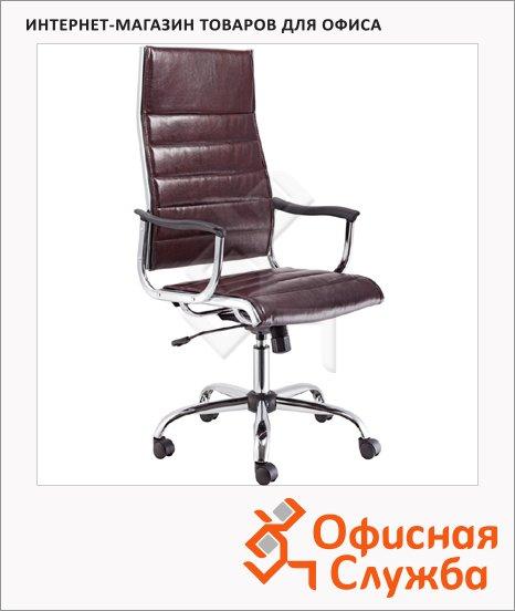 Кресло руководителя Бюрократ CH-994 нат. кожа, крестовина хром, темно-коричневая