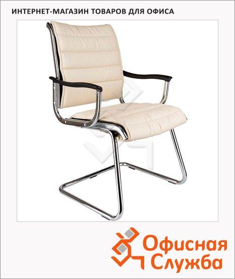 фото: Кресло посетителя Бюрократ CH-994AV иск. кожа на полозьях, белая