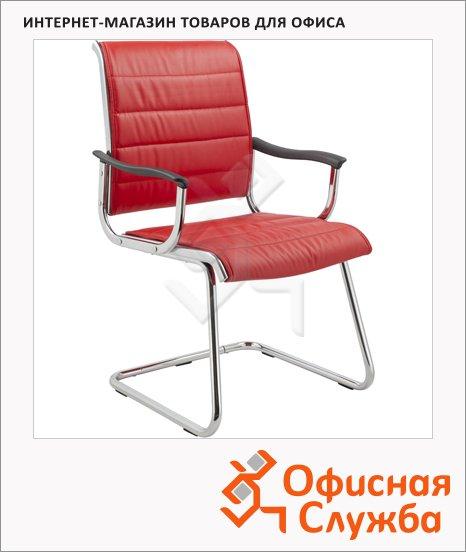 Кресло посетителя Бюрократ CH-994AV иск. кожа, на полозьях, красная