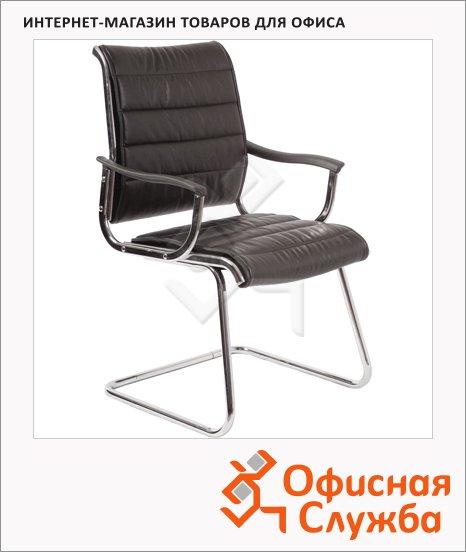 Кресло посетителя Бюрократ CH-994AV иск. кожа, на полозьях, черная