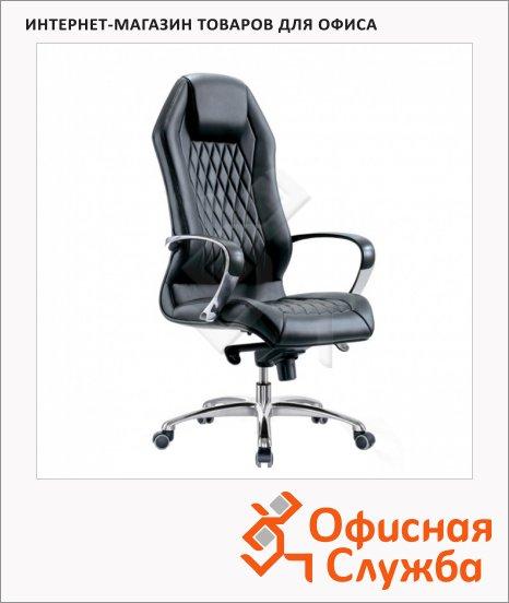 Кресло руководителя Бюрократ Aura нат. кожа, крестовина алюминий, черная