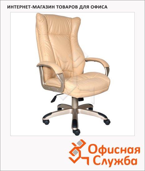 Кресло руководителя Бюрократ CH-879Y иск. кожа, бежевая, крестовина пластик