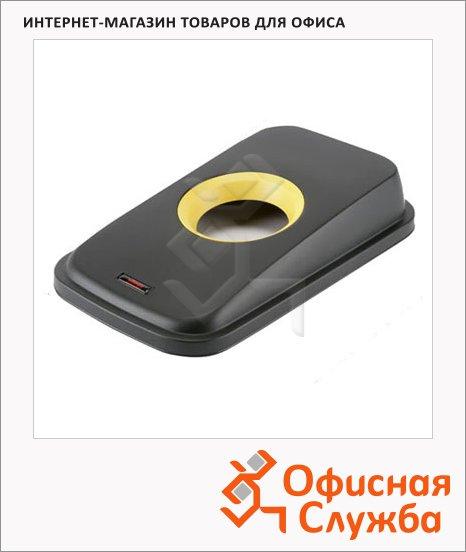 Крышка для контейнера Vileda Pro Гея 55/70л, с отверстием для бутылок, черный/желтый, 137733