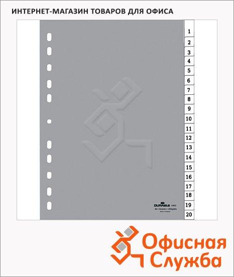 Цифровой разделитель листов Durable, А4, 20 разделов, 6443-10