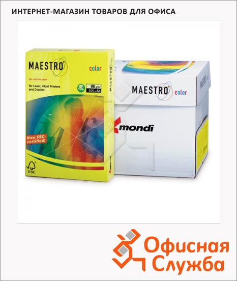 Цветная бумага для принтера Maestro Color интенсив ярко-желтый, А4, 500 листов, 80г/м2, IG50