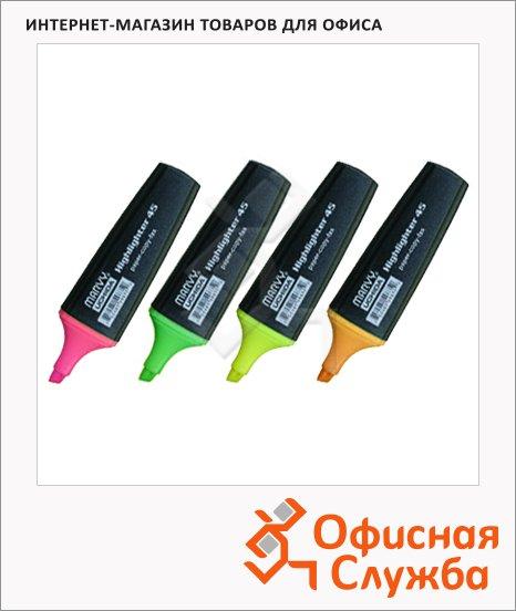 Текстовыделитель Marvy М-45 набор 4 цвета, 1-5мм, скошенный наконечник, 4V