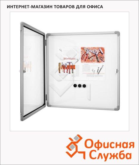 фото: Доска-витрина Magnetoplan SP 1215300 87х75 см белая, лаковая, магнитная маркерная, алюминиевая рама, интерьерная, 6 отделений