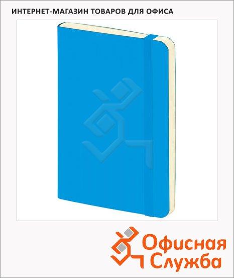 Блокнот Brunnen голубой, А5, 48листов, в клетку, на сшивке, рециклированная кожа, кремовая бумага, 55655-32