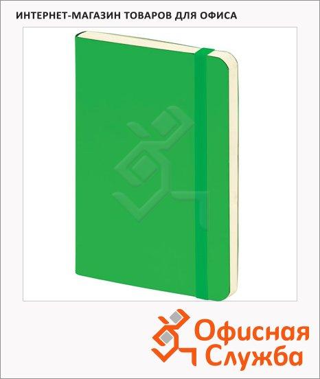 Блокнот Brunnen зеленый, А5, 48листов, в клетку, на сшивке, рециклированная кожа, кремовая бумага, 55655-52