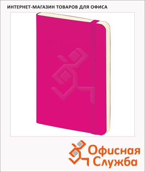 Блокнот Brunnen розовый, А5, 48листов, в клетку, на сшивке, рециклированная кожа, кремовая бумага, 55655-26