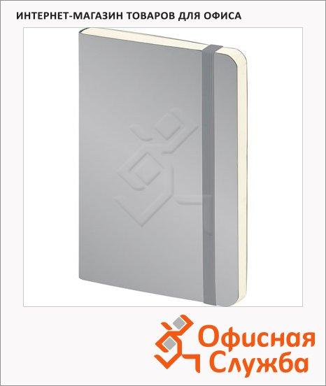 Блокнот Brunnen серый, А5, 48листов, в клетку, на сшивке, рециклированная кожа, кремовая бумага, 55655-92