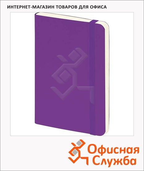 Блокнот Brunnen фиолетовый, А5, 48листов, в клетку, на сшивке, рециклированная кожа, кремовая бумага, 55655-60