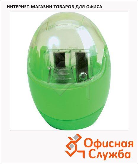 Точилка Brunnen 29879 2 отверстия, с контейнером, круглая, зеленая