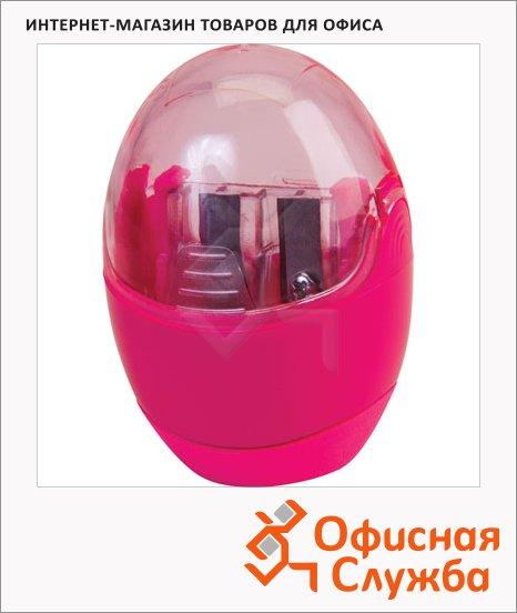 Точилка Brunnen 29879 2 отверстия, с контейнером, круглая, розовая