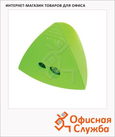 фото: Точилка 29874 2 отверстия с контейнером, треугольная, зеленая
