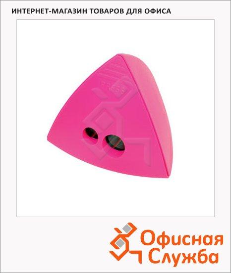 Точилка Brunnen 29874 2 отверстия, с контейнером, треугольная, розовая