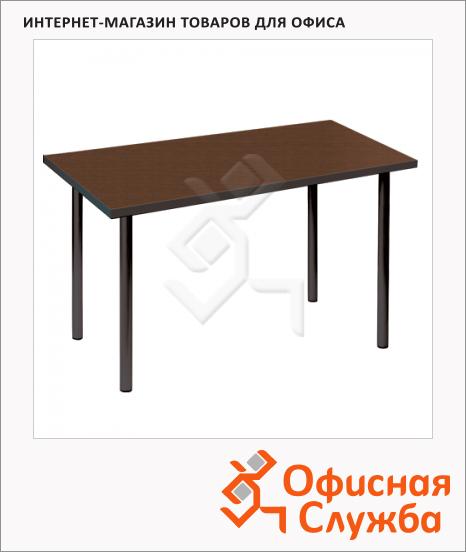 Стол для кафе Erich Krause Статус пластик, темное дерево, каркас металл, черный, 1150х720х735мм