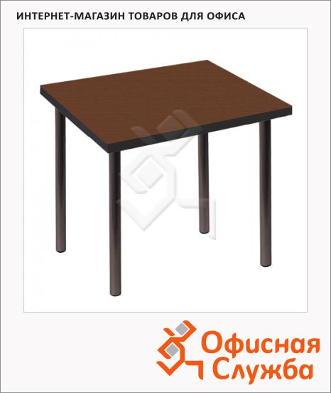 фото: Стол для кафе Стиль пластик темное дерево, каркас металл, черный, 720х720х735мм