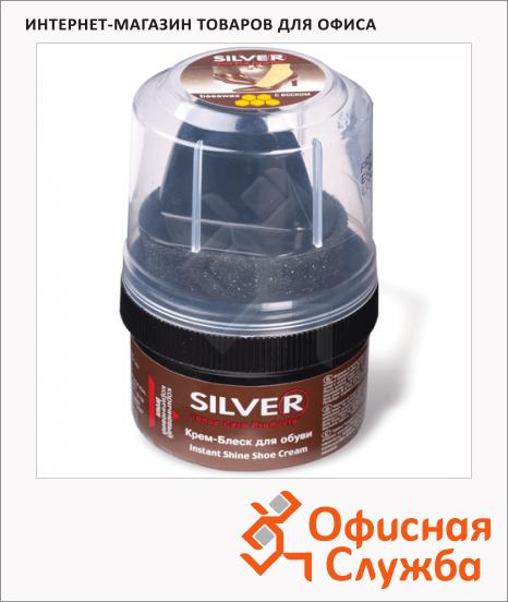 Крем-воск для обуви с губкой Silver для замши и нубука, 50мл, коричневый