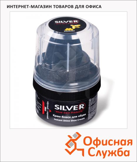 Крем-воск для обуви с губкой Silver для замши и нубука, 50мл, черный
