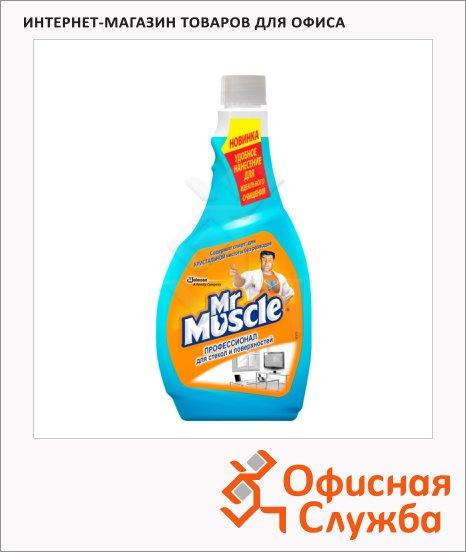 Чистящее средство Мистер Мускул Эконом 500мл, с нашатырным спиртом, запасной блок, синий, универсальный