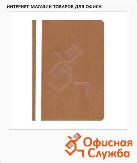 Скоросшиватель пластиковый Бюрократ коричневый, А4, PS20BROWN