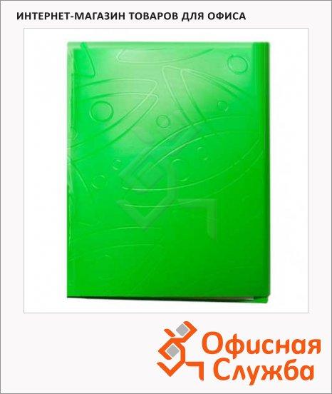 Пластиковая папка с зажимом Бюрократ Galaxy салатовая, А4, 18мм, GA07CLETT