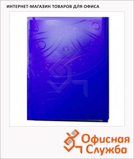 фото: Пластиковая папка с зажимом Бюрократ Galaxy синяя А4, 18мм, GA07CBLUE