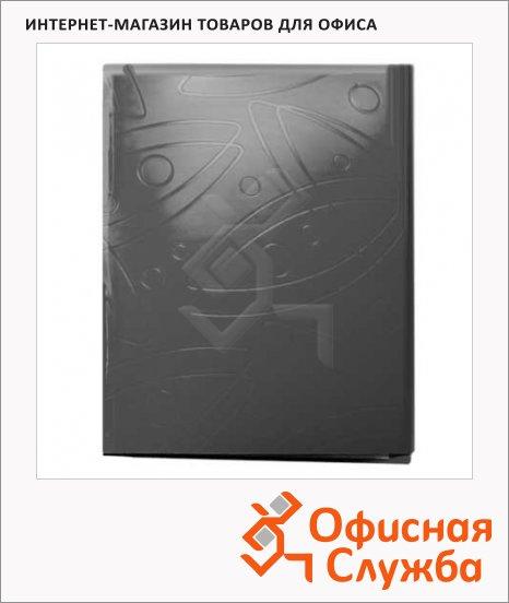 Папка пластиковая с зажимом Бюрократ Galaxy черная, А4, 18мм, GA07CBLCK