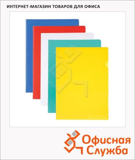 Папка-уголок Бюрократ ассорти, A4, 100мкм, 20 шт/уп, E100A