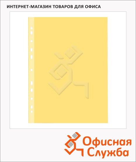 Файл-вкладыш А4+ Бюрократ СуперЛюкс желтый матовый, 100 мкм, 25 шт/уп