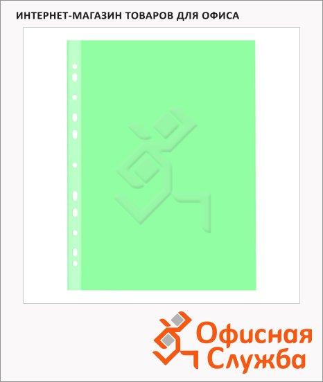 Файл-вкладыш А4+ Бюрократ СуперЛюкс зеленый матовый, 100 мкм, 25 шт/уп