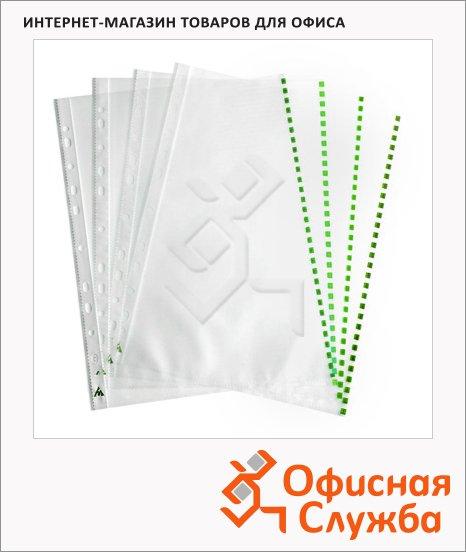 Файл-вкладыш А4+ Бюрократ Премиум зеленый край глянцевый, 30 мкм, 50 шт/уп