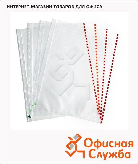 Файл-вкладыш А4+ Бюрократ Премиум красный край глянцевый, 30 мкм, 50 шт/уп