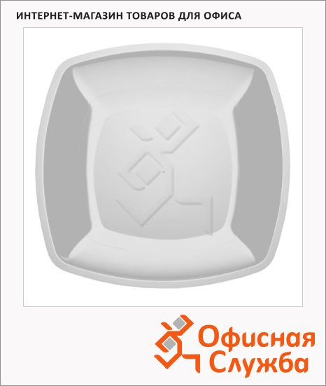 Тарелка одноразовая Buffet белая, 23см, квадратная плоская, 6шт/уп