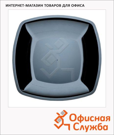 Тарелка одноразовая Buffet черная, 23см, квадратная плоская, 6шт/уп