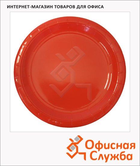 Тарелка одноразовая Horeca красная, d=23см, 50шт/уп