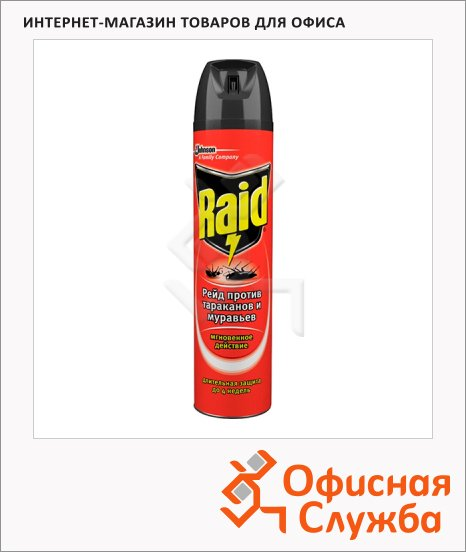 Средство от насекомых Raid Мгновенное действие 0.3л, против тараканов и муравьев, аэрозоль